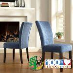 kursi makan sofa modern biru set 2