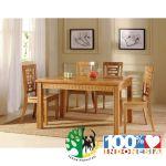 set meja makan jati tiongkok natural