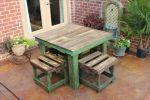 Set kursi teras kuno hijau antik