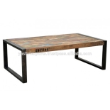 teak coffee table iron reclaimed