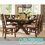 KAYU MEBEL - Kursi Makan Set Meja Silang 8 Seat